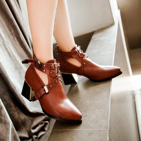 Women's Fashion Solid Color Openwork Rivets Ankle Boots