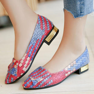 Color Block Chunky Low Heeled Point Toe Casual Date Low Heels