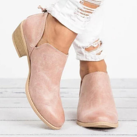 Plain  Chunky  Low Heeled  Point Toe  Casual Low Heel Shoes