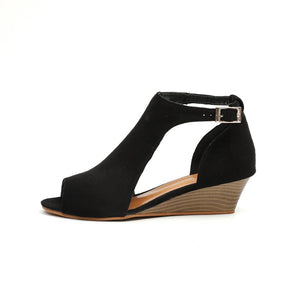 Plain Mid Heeled Velvet Ankle Strap Peep Toe Casual Peep-Toe Wedges