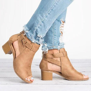 Plain Chunky Mid Heeled Velvet Ankle Strap Peep Toe Date Outdoor Sandals