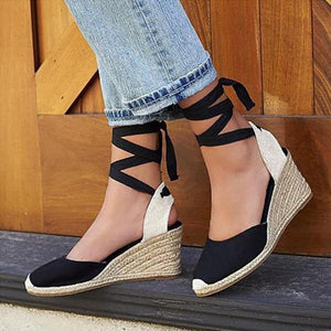 Color Block Plain High Heeled Velvet Ankle Strap Round Toe Outdoor Wedge Sandals