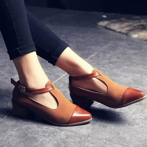 One-Line Pointed Buckle Solid Color Non-Slip Leather Low Heel Shoes