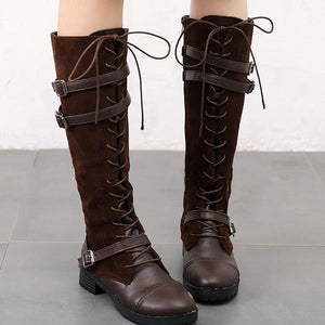 Buckle Side Zipper Lace Up Riding Boots