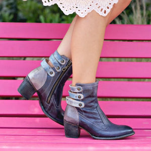 Chunky  High Heeled  Round Toe  Date Outdoor  Short High Heels Boots