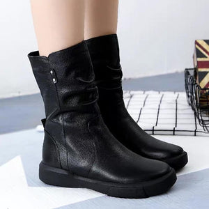 Fashion Stylish Low Heel Medium Height Martin Boots