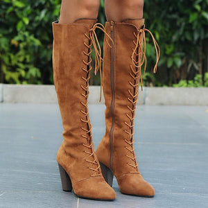 Plain  Chunky  High Heeled  Velvet  Point Toe  Date Outdoor  Knee High High Heels Boots