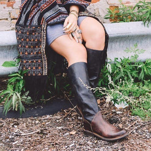 Fashion Women Low Heel Long Boots