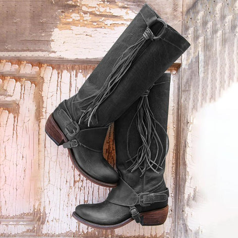 Plain  Chunky  Low Heeled  Round Toe  Casual Date Outdoor Knee High Heels Boots