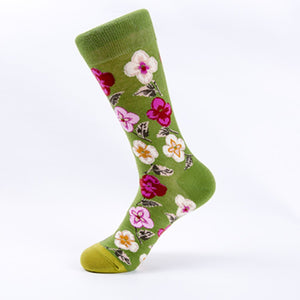 Bright flower series creative pattern tube cotton socks