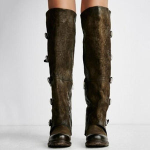 Plain  Flat  Velvet  Round Toe  Date Outdoor  Knee High Flat Boots