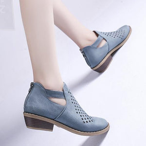 Hollow Out Plain Flat Velvet Point Toe Date Outdoor Ankle Boots