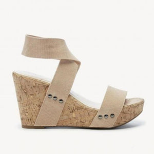 Plain  High Heeled  Peep Toe  Date Outdoor Wedge Sandals