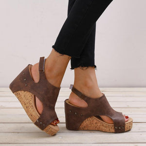Casual Plain Wedge Heel Fish Mouth Sandal