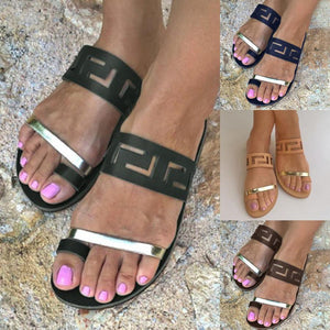 Color Block Flat Peep Toe Casual Sandals