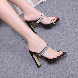 Fashion   Versatile Rhinestone High Heel Sandals