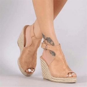 Fashion Hemp   Rope Wedge Fish Mouth Sandals