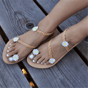Fashion Vintage   Woven Flower Flat Sandals