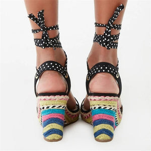 Fashion Vintage   Color Hemp Rope Woven Wedge Sandals
