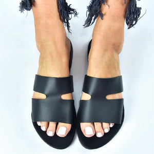 Daily Open-Toed Solid Color Hollow-Out Flat Bottom Slippers