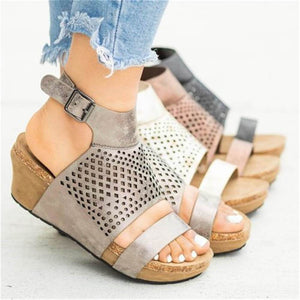 Fashion Casual Hollow Platform Wedge Sandals