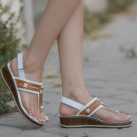 Summer Comfort Wedge Low Heel Toe Large Sandals