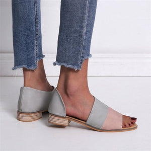 2019 Spring/Summer Women's Low-Heeled Peep-Toe/Gladiator Shoes Of Mixed Color