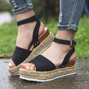 Hemp Rope Wedge Fish Mouth Sandals