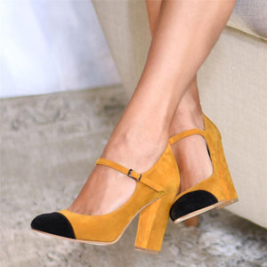 Women's Color Stitching Casual High Heels