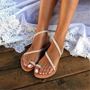 Fashion Vintage Pearl Toe Flat   Sandals