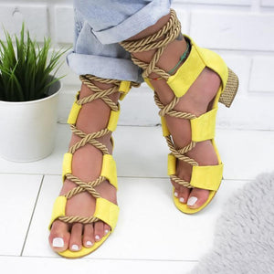 Euramerican Style Decussated Lace-Up Mixed Color Peep-Toe Sandals