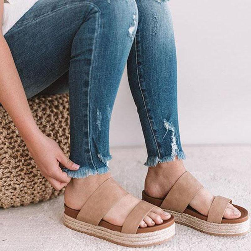 Casual Summmer Large Size Pure Color Platform Shoes Peep-Toe Heels Sandals