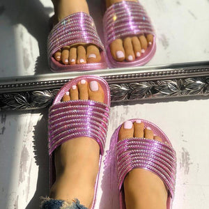 Fashion Casual Easy Matching Rhinestone Decoration Slippers Sandals