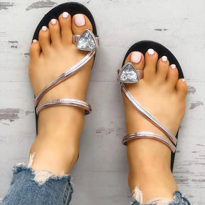 Casual Summer Rhinestone Design Antiskid Beach Slippers Sandals