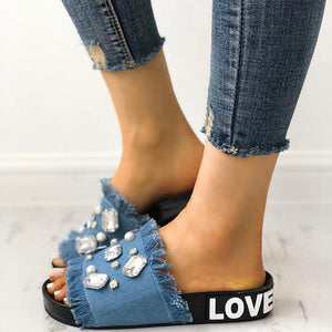 Fashion Korean Style Casual Jewel Tassels Design Slipper Sandals
