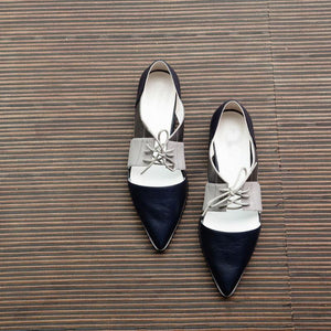 Casual Mixed Color Hollowed-Out Decussated Lace-Up Pointed Toes Sandals