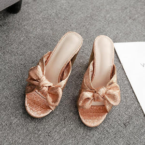 Euramerican Style Fashion Bowknot Decoration Peep-Toe Sandals Chunky Heels