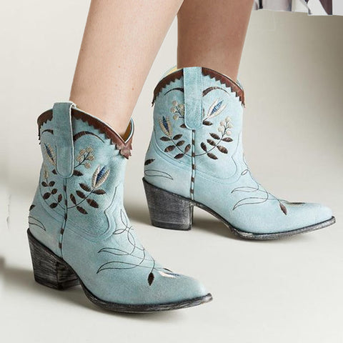 Women's Vintage Pointy Rough Heel Boots