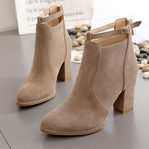 Women's Fashion Solid Color Suede Belt Buckle Scrub High Heels
