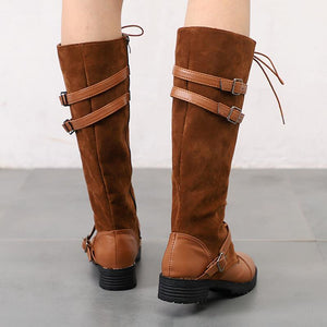Women's Fashion Solid Color Lace-Up Knight Boots