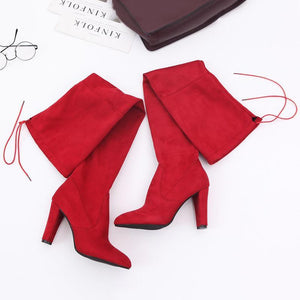 Women's Fashion Solid Color Matte High Heel Over Knee Boots