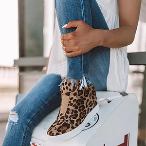 Women's Fashion Casual Solid Color Leopard Round Head Boots