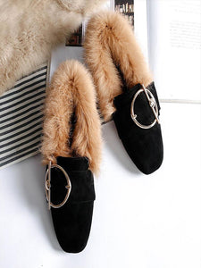 Flat Square Toe Casual Warm Fur Shoes