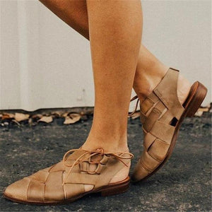 Women's Braided Lace-Up Pointed Sandals