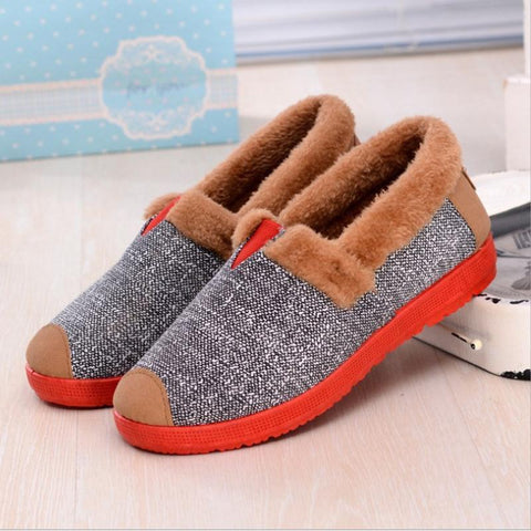 Stylish And Comfortable Warm Flat Cotton Shoes