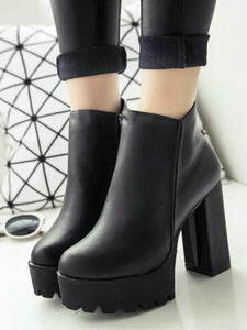Fashion Sexy Round Toe High Heel Chunky Ankle Boots