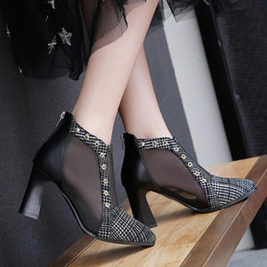 Fashion Casual Poitn Toe High Heel See Through Ankle Boots
