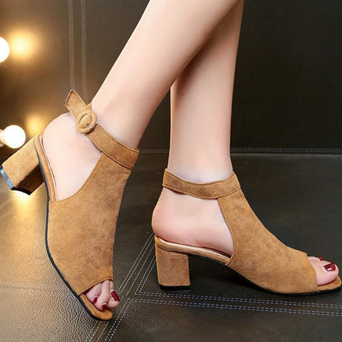 Fashion Casual Peep Toe Ankle-Strap Mid-Heel Sandals
