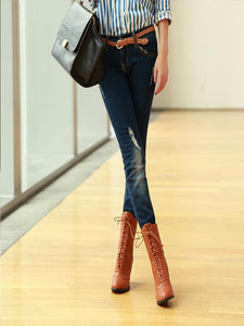 High Heel Lace Ankle Boots
