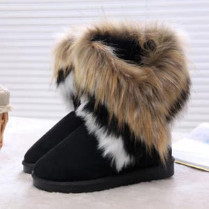 Fashion Casual Warm Artificial Fur Round Toe Snow Boots